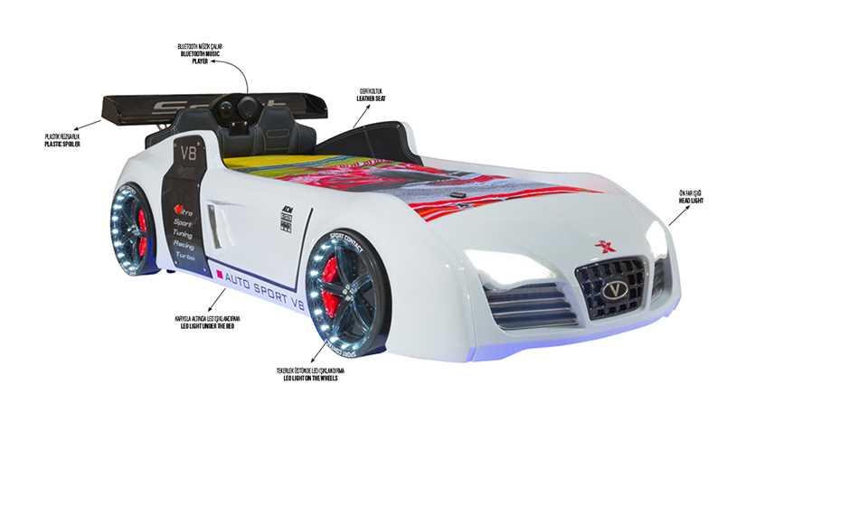 Turbo V8 Arabalı Karyola White
